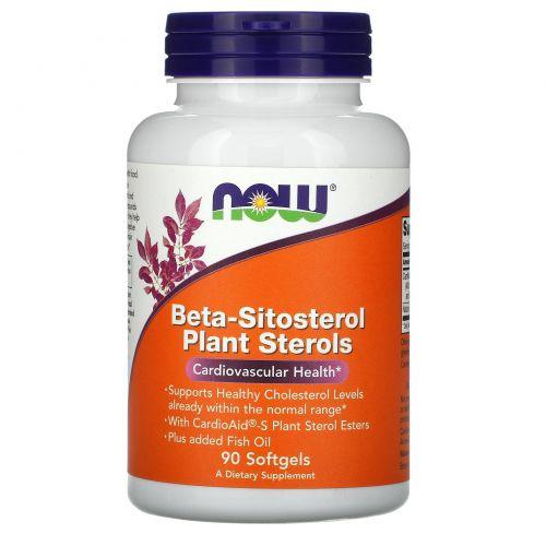 Now Foods, Комплекс растительных стеролов, содержащих бета-ситостерол (Beta-Sitosterol Plant Sterols), 90 мягких таблеток