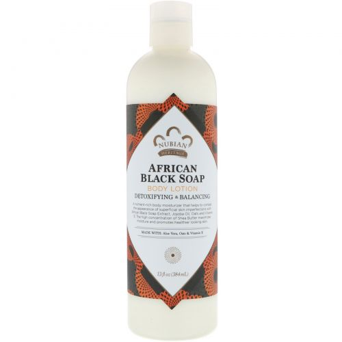 Nubian Heritage, Body Lotion, African Black Soap, Detoxifying & Balancing, 13 fl oz (384 ml)