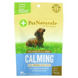 Pet Naturals of Vermont, Успокаивающее средство для собак, 30 жевательных таблеток, 1,59 унции (45 г)