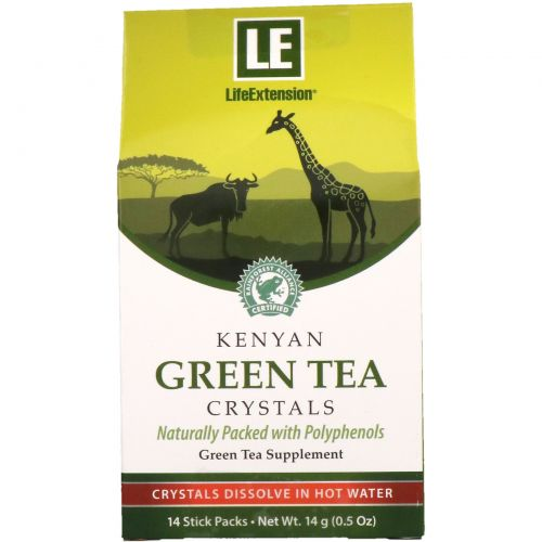 Life Extension, Kenyan Green Tea Crystals, 14 Stick Packs