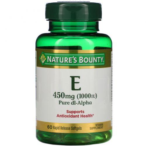 Nature's Bounty, Витамин Е, чистая Dl-альфа, 1000 МЕ, 60 мягких желатиновых капсул с быстрым высвобождением