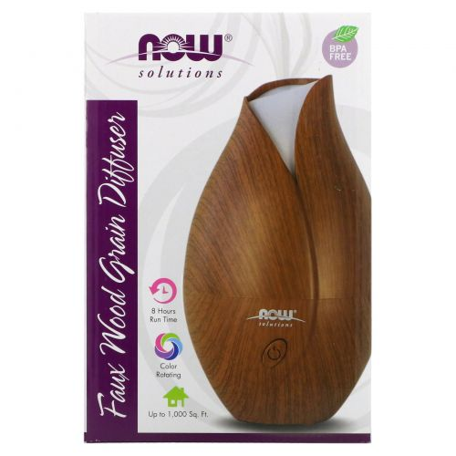 Now Foods, Solutions, деревянный ультразвуковой диффузор масла, 1 шт.