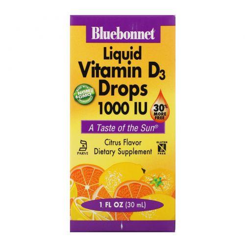 Bluebonnet Nutrition, Жидкий витамин D3, в каплях, натуральный цитрусовый вкус, 1000 МЕ, 1 жидкая унция (30 мл)