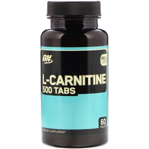 Optimum Nutrition, L-карнитин, 500 мг, 60 таблеток
