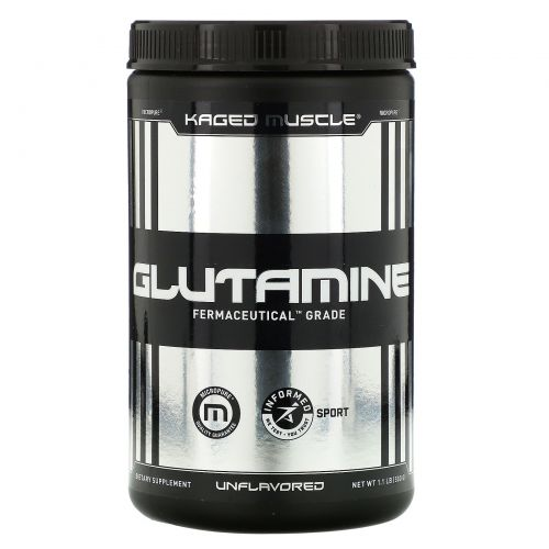 Kaged Muscle, Глутамин, без ароматизаторов, 1,1 фунта (500 г)
