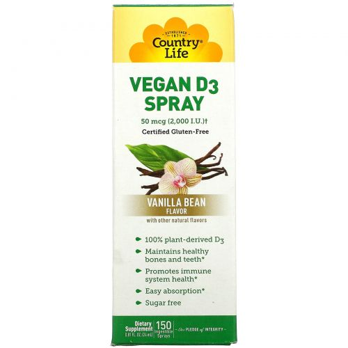 Country Life, Vegan D3 Spray, Vanilla Bean Flavor, 2,000 I.U. (50 mcg), 150 Ingestible Sprays, 0.81 fl oz (24 ml)
