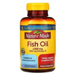Nature Made, Рыбий жир 1200 мг, 100 гелевых капсул
