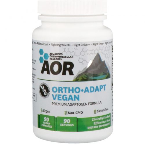 Advanced Orthomolecular Research AOR, Ortho Adapt Vegan, 90 веганских капсул