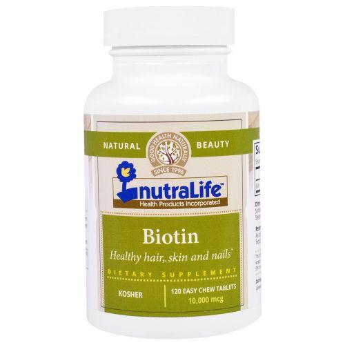NutraLife, Биотин, 10 000 мкг, 120 легко разжевываемых таблеток