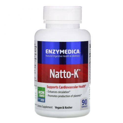 Enzymedica, Natto-K, для сердечно-сосудистой системы, 90 капсул