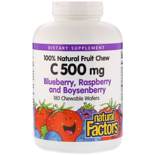 Natural Factors, C 500 mg, Blueberry, Raspberry and Boysenberry, 180 Chewable Wafers
