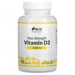 Nu U Nutrition, ВитаминD3 максимальной активности, 3000МЕ, 180мягких таблеток