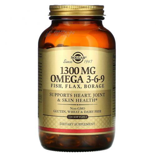 Solgar, Незаменимая жирная кислота, Омега 3-6-9, 1300 мг, 120 капсул в желатиновой оболочке