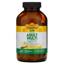 Country Life, Жевательные мультивитамины для взрослых, со вкусом ананаса и апельсина, 120 вафель