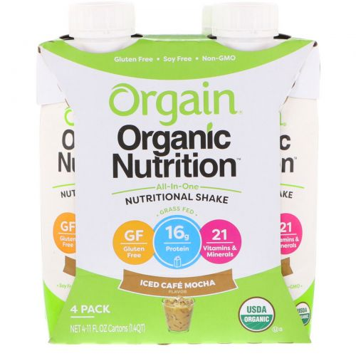 Orgain, All In One Nutritional Shake, Iced Cafe Mocha, 4 Pack, 11 fl oz Each