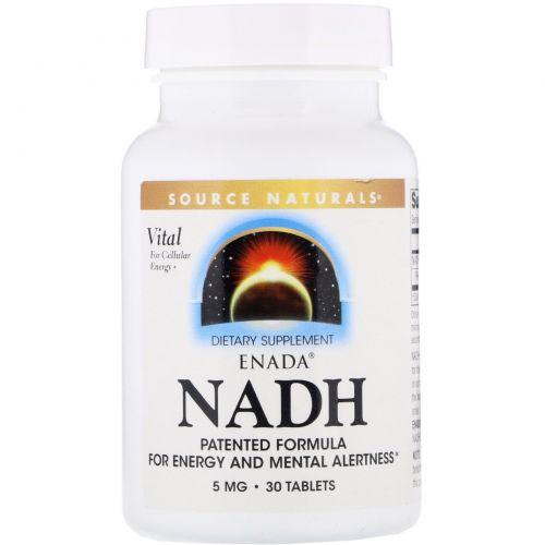 Source Naturals, Никотинамидадениндинуклеотид ENADA, 5.0 мг, 30 таблеток