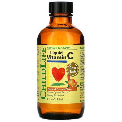 ChildLife, Жидкий витамин C, с натуральным апельсиновым вкусом, 4 жидкие унции (118,5 мл)