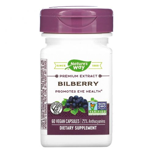 Nature's Way, Bilberry Standardized, 60 Veg Capsules