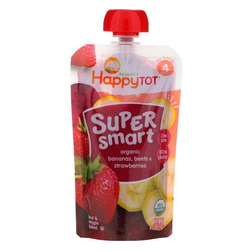 Nurture Inc. (Happy Baby), Happy Tot, Super Smart, Фруктово-овощное пюре, Уровень 4, Органические бананы, свекла и клубника, 113 г (4 oz)