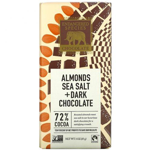 Endangered Species Chocolate, Almonds Sea Salt + Dark Chocolate, 3 oz (85 g)