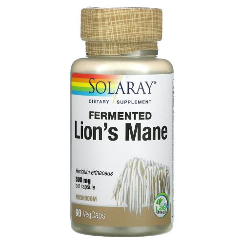 Solaray, Organically Grown Fermented Lion's Mane, 60 Veggie Caps