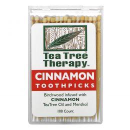 Tea Tree Therapy, Зубочистки с корицей, около 100 шт.