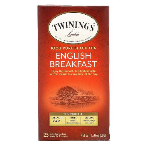 Twinings, English Breakfast Tea, 25 Individual Tea Bags, 1.76 oz (50 g)
