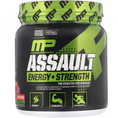 Muscle Pharm, Натиск энергии + сила, предтренировка, Фруктовый пунш, 12,17 унции (345 г)