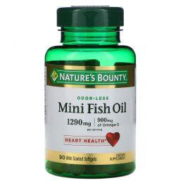 Nature's Bounty, Рыбий жир Mini, максимальная сила, 90 мини гелевых капсул в специальном покрытии