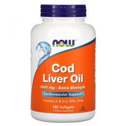 Now Foods, Рыбий жир печени трески, 1,000 мг, 180 гелевых капсул