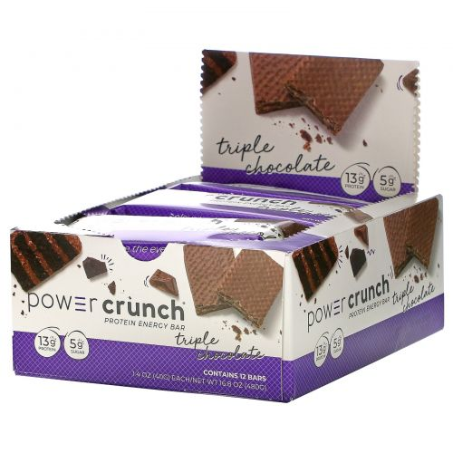 BNRG, Power Crunch Protein Energy Bar, Original Triple Chocolate, 12 Bars, 1.4 oz (40 g) Each