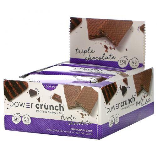 BNRG, Power Crunch Protein Energy Bar, Original, Triple Chocolate, 12 Bars, 1.4 oz (40 g) Each