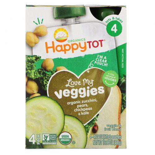 """Nurture Inc. (Happy Baby), """"Обожаю свои овощи"""" из серии """"Счастливый карапуз"""", фруктово-овощная смесь с кабачком, грушей, нутом и кудрявой капустой, 4 пакета по 4,22 унции (120 г)"""