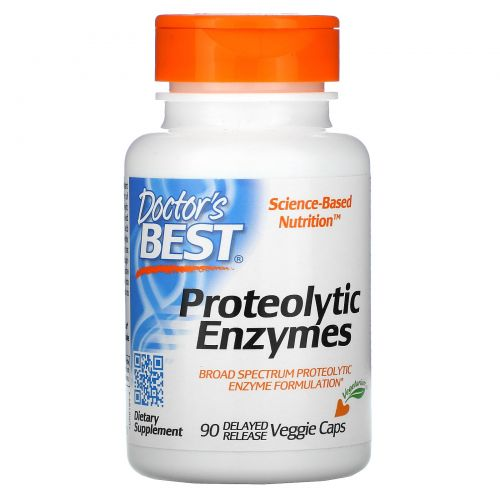 Doctor's Best, Лучшие протеолитические ферменты, 90 желудочно-резистентных вегетарианских капсул