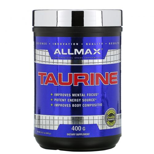ALLMAX Nutrition, 100% Pure Taurine + Maximum Strength + Absorption, 3000 mg, 14.1 oz (400 g)