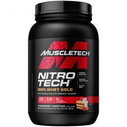 Muscletech, Nitro Tech 100%-ный Сывороточный Золотой Белок, Клубника, 1,00 фунта (454 г)
