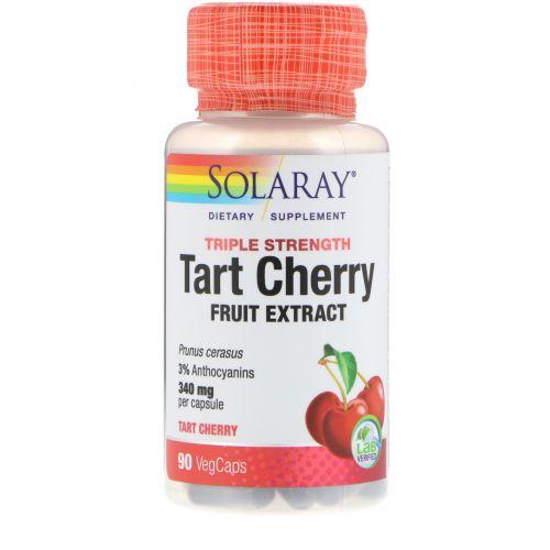 Solaray, Тройная сила, вишня, 90 вегетарианских капсул