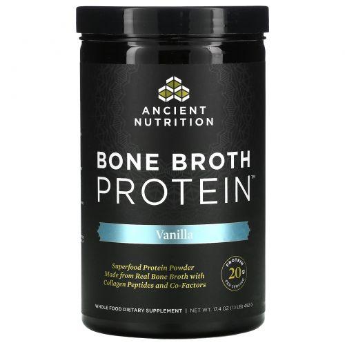 """Ancient Nutrition, """"Белок костного бульона"""", белковый порошок с ванильным вкусом, 16,2 унции (460 г)"""