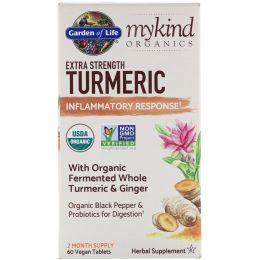 Garden of Life, Garden of Life, MyKind Organics, Extra Strength Turmeric Inflammatory Response, 60 Vegan Tablets