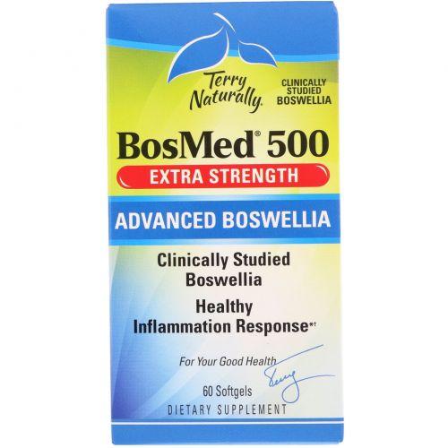 EuroPharma, Terry Naturally, BosMed 500, Экстра сила, Улучшенная босвелия, 500 мг, 60 мягких капсул