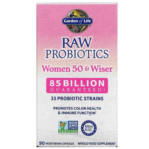 Garden of Life, RAW Пробиотики, Женщины 50 и мудрее 90 овощных капсул (Ice)