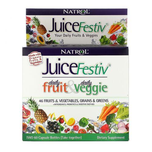 Natrol, JuiceFestiv, потрясающая суперпитательная добавка из фруктов и овощей, 2 банки по 60 капсул