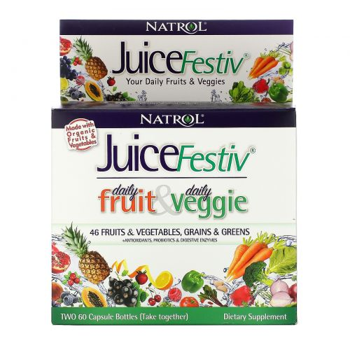 Natrol, JuiceFestiv, 2 флакона, по 60 капсул каждый