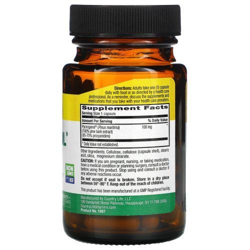 Country Life, Пикногенол, 100 мг, 30 вегетарианских капсул