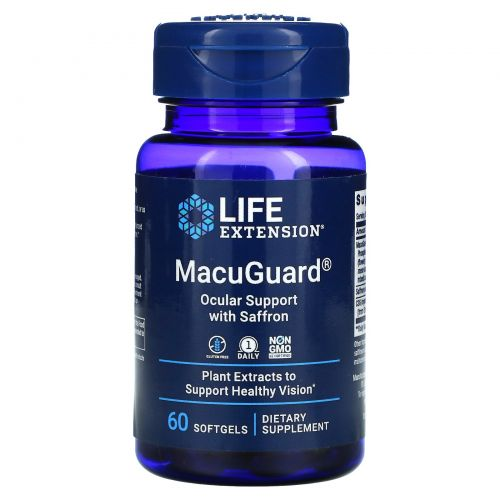 Life Extension, MacuGuard, Ocular Support with Saffron, 60 Softgels