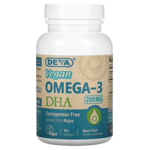Deva, Омега-3 ДГК, Веганский продукт, 90 веганских гелевых капсул