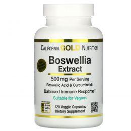 California Gold Nutrition, Экстракт босвеллии плюс экстракт куркумы, 500 мг, 120 вегетарианских капсул