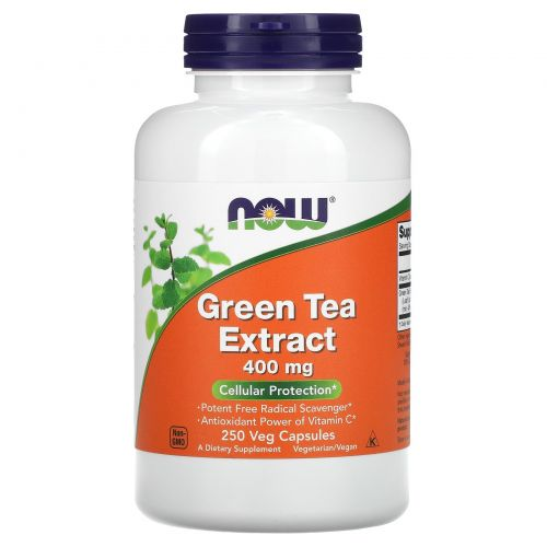 Now Foods, Экстракт зеленого чая, 400 мг, 250 растительных капсул