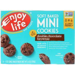 """Enjoy Life Foods, """"Мягкие печеньки"""", мягкое печенье-брауни с двойным шоколадом, снэки в отдельных упаковках, 6 шт. по 1 унции (28 г)"""