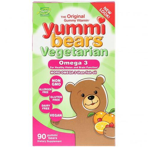 Hero Nutritional Products, Мишки Yummi, растительные омега-3, натуральные фруктовые вкусы, 90 мишек